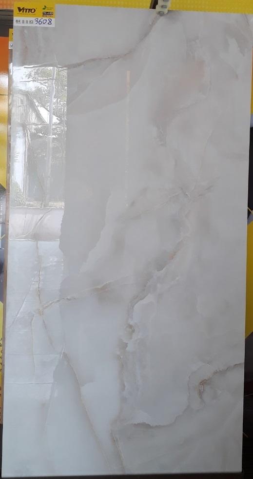 Gạch Lát Nền 60×120  Màu Trắng Vân Đá men Kim Cương Vitto 3608