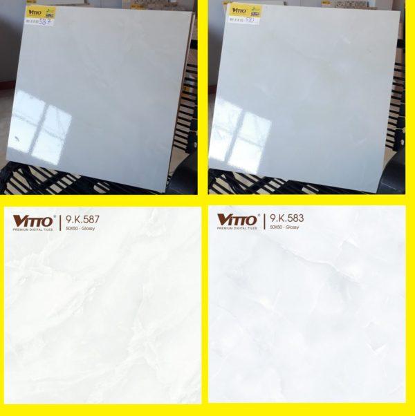 Gạch Lát Nền 50×50 Vitto 0587 0583 Màu Trắng Vân Mây Xanh Nhạt