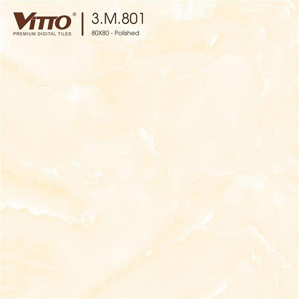 gach 80x80 vitto 801 màu vàng kem