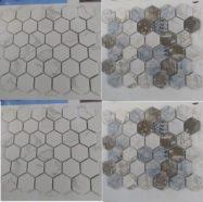 Gạch Mosaic Lục Giác Màu Trắng – Màu Xám – Màu Xanh Dương