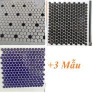 Gạch Mosaic Gốm Viên Bi Tròn Màu Trắng – Màu Đen – Màu Xanh