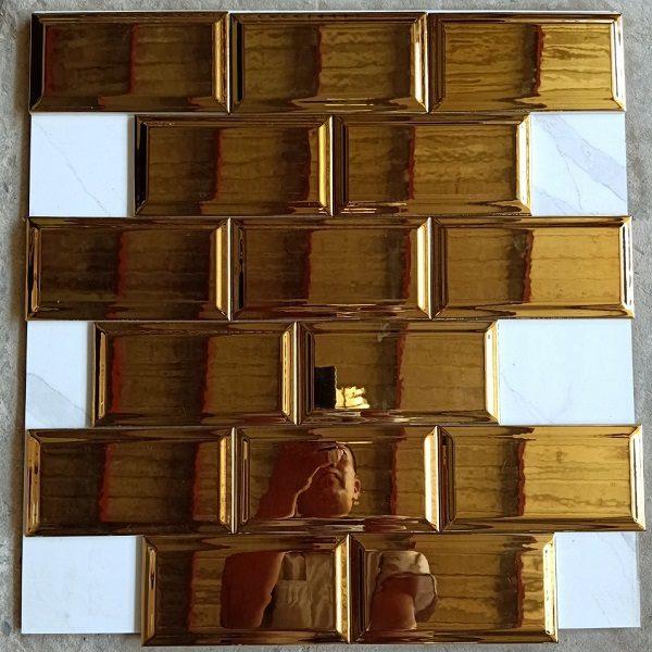Gạch Thẻ 10×20 Màu Vàng Đồng Bóng Ốp Tường Cao Cấp