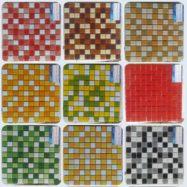 9 Mẫu Gạch Mosaic Thủy Tinh Màu Đỏ- Màu Xanh- Màu Vàng- Màu Đen