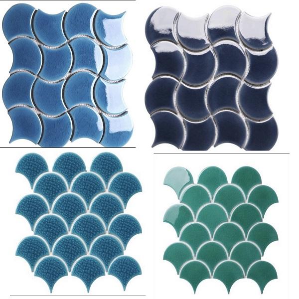 Gạch Mosaic Vẩy Cá Màu Xanh Ốp Tường – Gốm Rạn  Cao Cấp