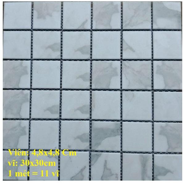 Gạch Mosaic Gốm Trang Trí Màu Trắng Vân Khói Mờ Stark SD48126