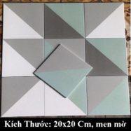 Gạch Bông Lát Nền Cổ Điển Hình 3D Màu Xam Xanh