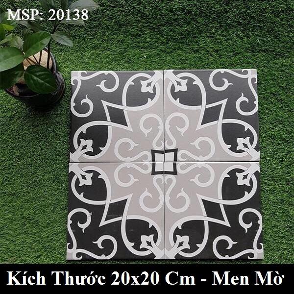 Gạch Bông Trang Trí Vân Cổ Điển Màu Xám Đen 20×20