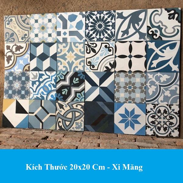 Gạch Bông 20×20 Lát Nền Cổ Điển Màu Xanh Giá Rẻ