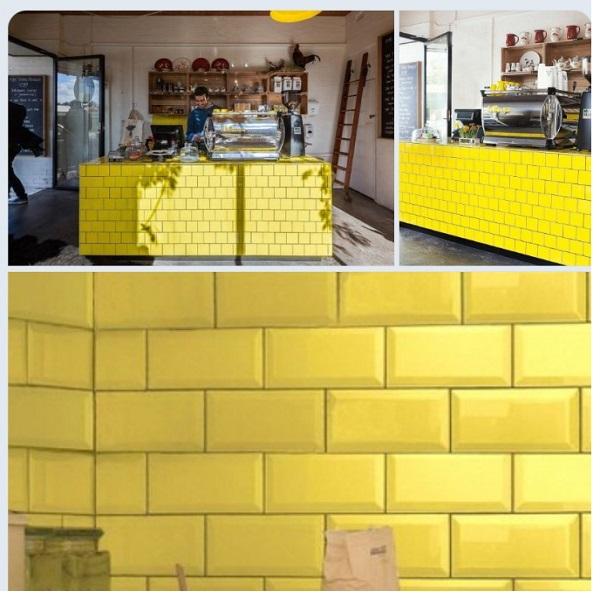 Gạch Thẻ Ốp Tường Màu Vàng 10×10 10×20 10×30 Cm