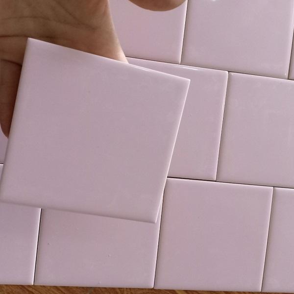 Gạch Thẻ Ốp Tường Trang Trí Màu Hồng 10×10 Cm