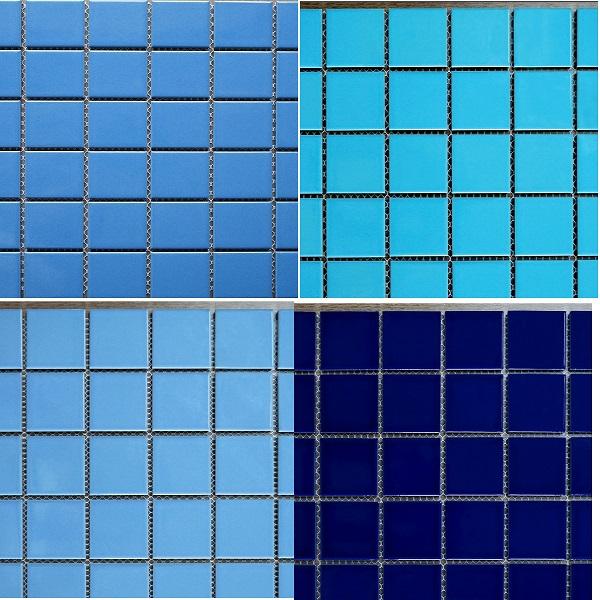 gach đá mosaic trang trí hồ bơi màu xanh