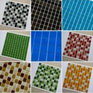 Gạch Hồ Bơi Mosaic Thủy Tinh Giá Rẻ – Màu Đen – Màu Xanh – Màu Hồng