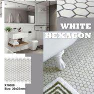 Gạch Đá Mosaic Lục Giác Màu Trắng Men Mờ  2×3 Cm