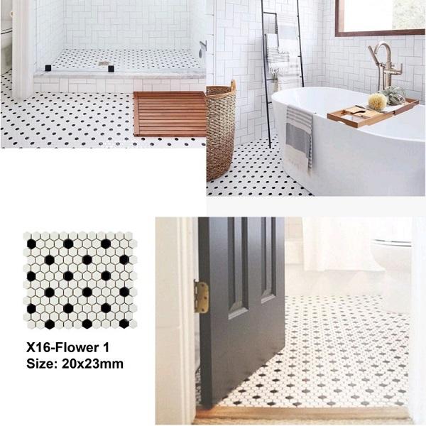 Gạch Mosaic Lục Giác Màu Trắng Đen Bếp – Phòng Vệ Sinh