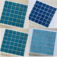 Gạch Mosaic Gốm Men Rạn Màu Xanh Lát Nền Hồ Bơi