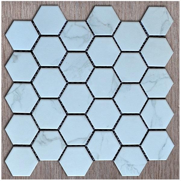 Gạch Mosaic Lục Giác Màu Trắng Vân Khói Ốp Tường