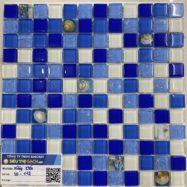 Gạch Mosaic Thủy Tinh Rạn Màu Xanh Vỏ Sò