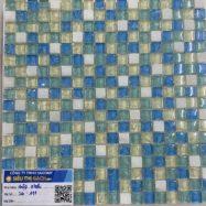 Gạch Mosaic Thủy Tinh Rạn Nứt 4 Màu Xanh – Vàng – Trắng