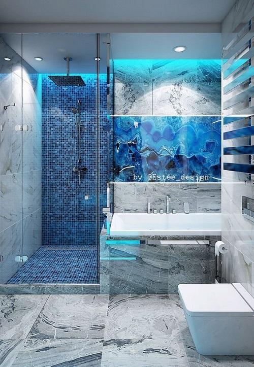 Gạch mosaic thủy tinh màu xanh giúp tăng thêm nét nổi trội, nâng lên sự sang trọng cho phòng vệ sinh