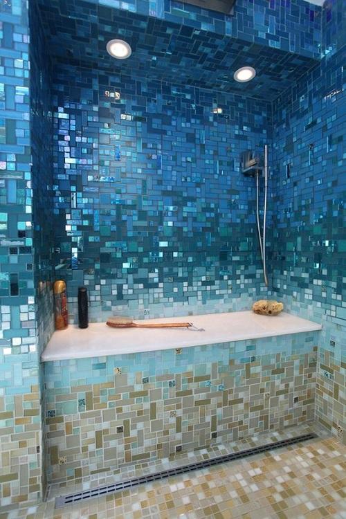 Gạch mosaic thủy tinh màu xanh cho phòng vệ sinh có độ bền cao
