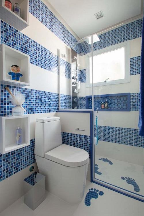 Gạch mosaic thủy tinh màu xanh cho phòng vệ sinh hoàn hảo