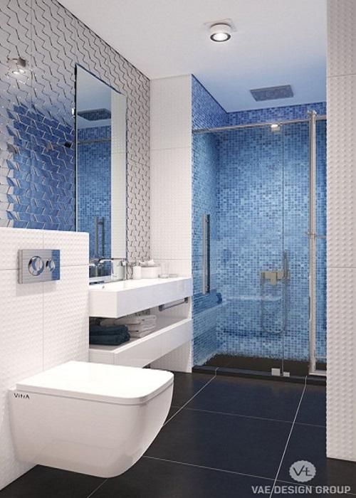 Gạch mosaic thủy tinh màu xanh cho phòng vệ sinh mang tới cảm giác sang trọng, đẳng cấp hơn