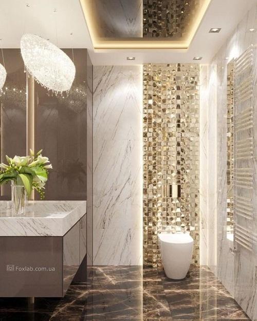 Gạch mosaic thủy tinh màu vàng cho phòng vệ sinh mang nét đẹp sáng tự nhiên cho không gian xung quanh