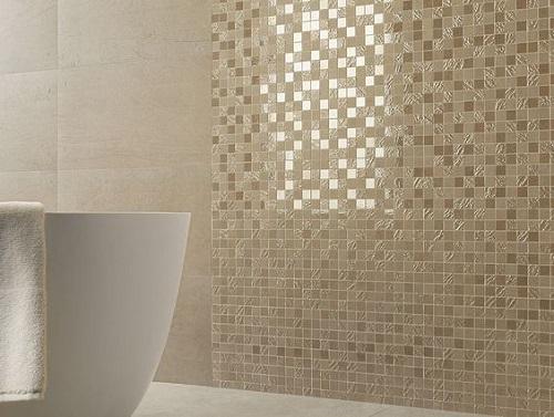 Gạch mosaic thủy tinh màu vàng cho phòng vệ sinh tạo nên màu sắc long lánh trang nhã, rất đẹp mắt với không gian xung quanh