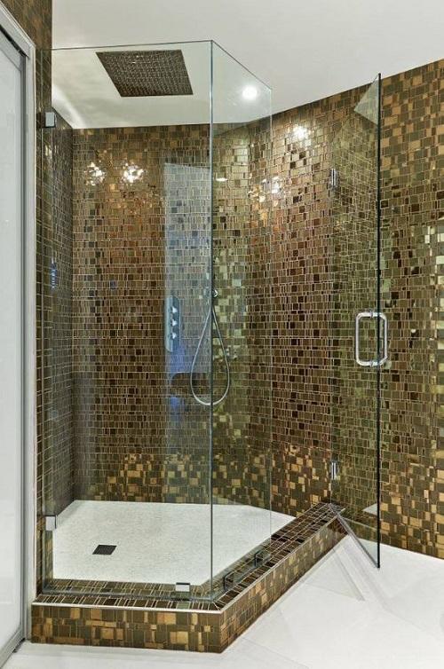 Gạch mosaic thủy tinh màu vàng cho phòng vệ sinh chống cháy, an toàn tuyệt đối với thời tiết và khí hậu nóng ẩm gió mùa như ở Việt Nam