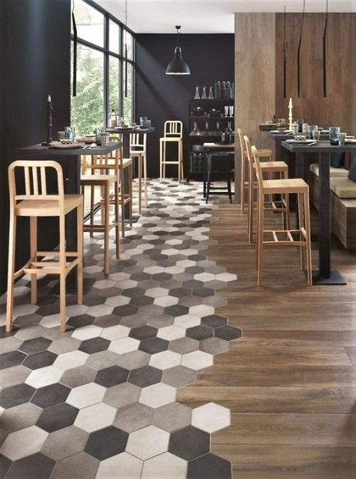 Gạch lục giác màu đen quán cà phê có nét thu hút rất riêng
