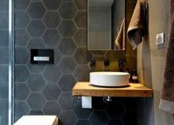 Gạch lục giác màu đen cho phòng vệ sinh