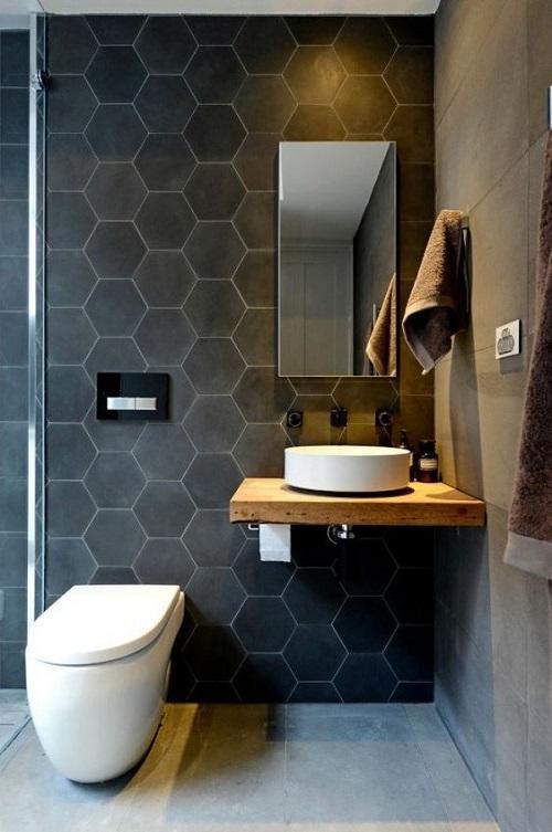 Gạch lục giác màu đen cho phòng vệ sinh đem đến không gian trầm lắng nhưng sang trọng