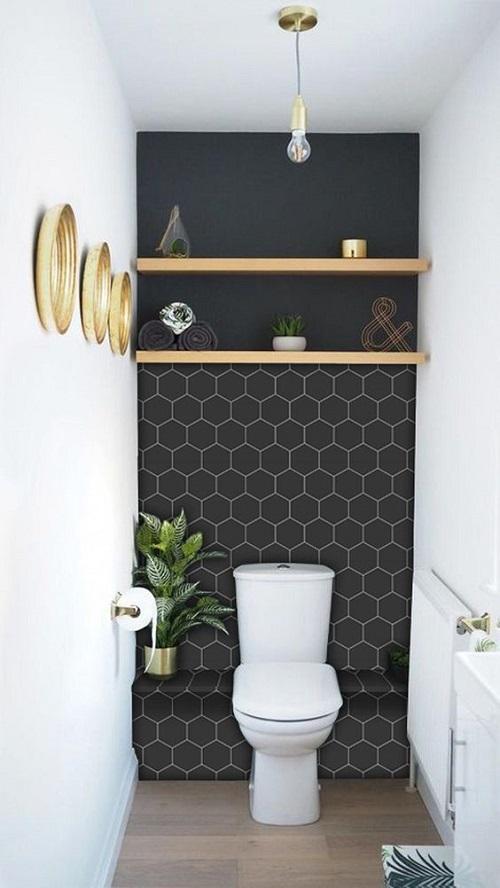 Gạch lục giác màu đen cho phòng vệ sinh, thay thế những loại gạch vuông thông thường, gây điểm nhấn cho không gian