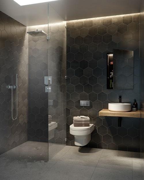 Gạch lục giác màu đen cho phòng vệ sinh lạ mắt và không kém sang trọng.