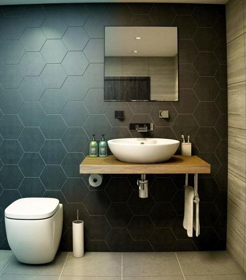 Gạch lục giác màu đen cho phòng vệ sinh với hình dáng 6 cạnh đối xứng