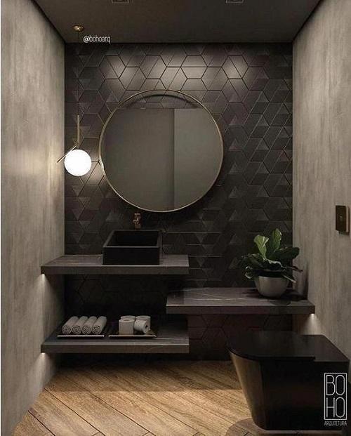 Gạch lục giác màu đen cho phòng vệ sinh trở nên đặc biệt