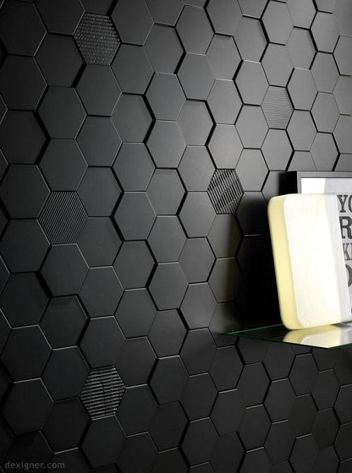 Gạch lục giác màu đen bóng cho phòng vệ sinh lịch lãm và sang trọng