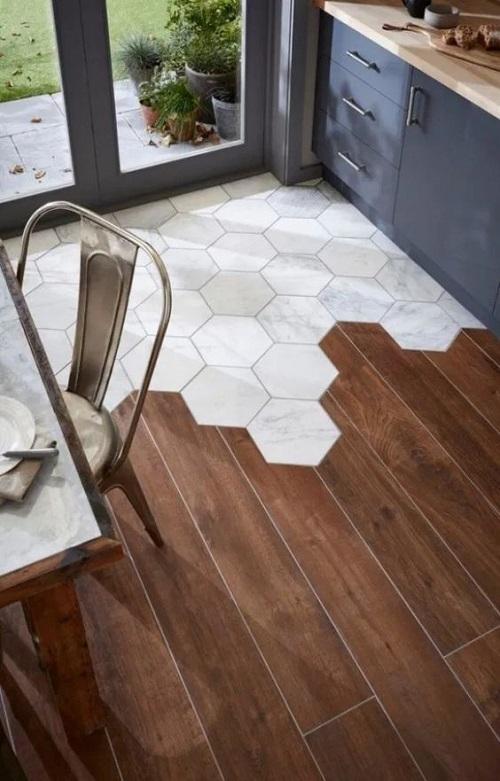 Gạch lục giác màu trắng phòng bếp đơn giản mà sang trọng