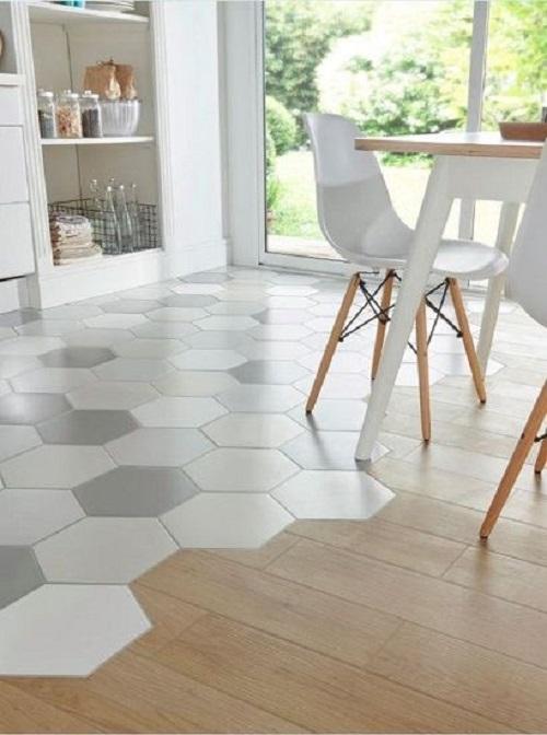 Gạch lục giác màu trắng phòng bếp thổi hồn cho không gian trở nên sinh động