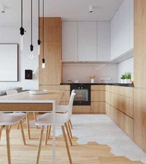 Gạch lục giác màu trắng phòng bếp giúp tạo được ấn tượng đặc biệt