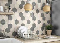 Gạch lục giác màu trắng phòng bếp