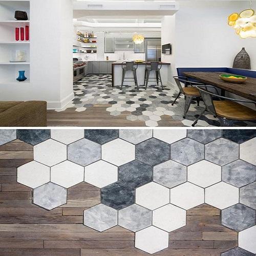 Gạch lục giác màu trắng phòng vệ sinh - Sáng tạo khi kết hợp với mẫu gạch vân gỗ lát nền