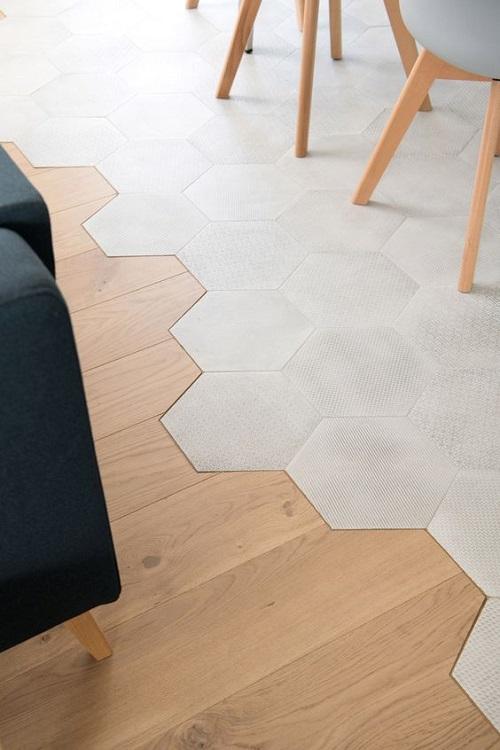 Gạch lục giác màu trắng phòng bếp giúp mở rộng không gian hiệu quả hơn