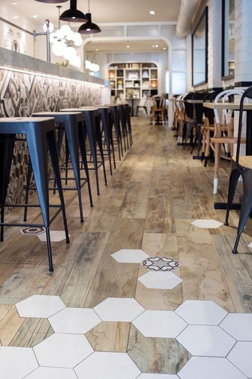 Gạch lục giác màu trắng phù hợp với những quán cà phê có không gian rộng