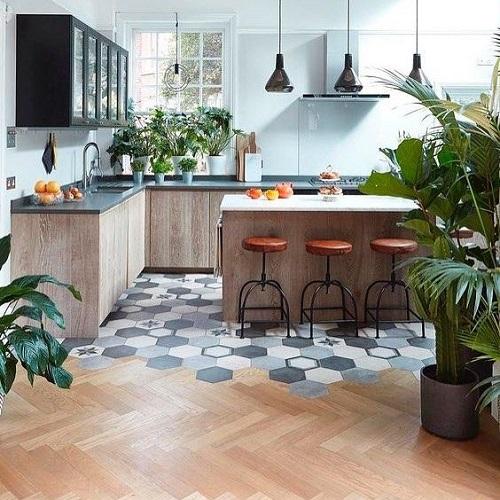 Gạch lục giác màu xám cho quán cà phê – rất được ưa chuộng sử dụng