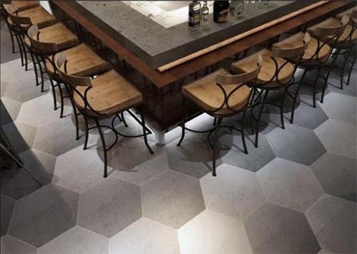 Gạch lục giác màu xám cho quán cà phê  rất hiện đại và thẩm mỹ