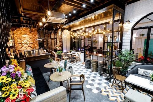 Gạch lục giác màu xám cho quán cà phê  trông sang trọng hẳn lên