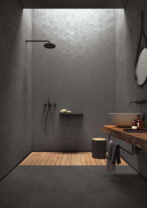 Cho một không gian vệ sinh trở nên sắc sảo hơn với gạch lục giác màu xám