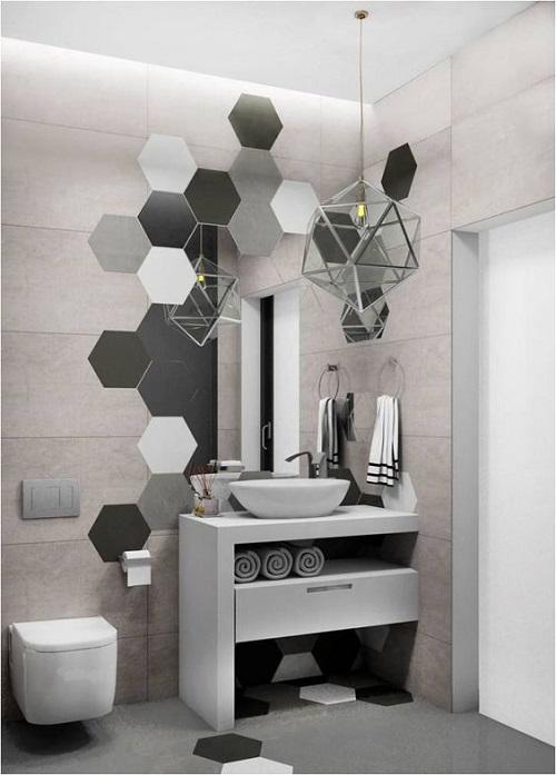 Gạch lục giác màu xám cho tường nhà vệ sinh một vẻ đẹp đặc biệt