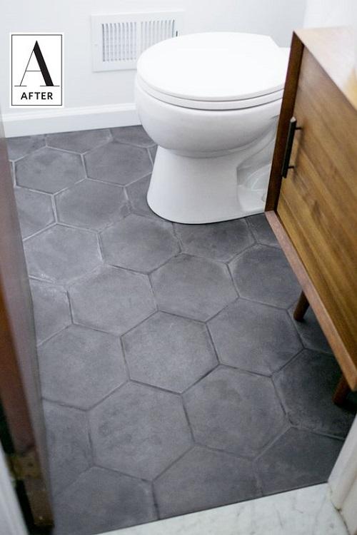 Gạch lục giác màu xám cho nền vệ sinh đơn giản nhưng tinh khôi  là lựa chọn phù hợp nhất cho bạn